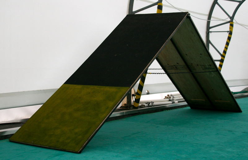 A-Frame: adjustable height, aluminum or powder-coated steel construction.  Contact surface (with slats) can be finished by the manufacturer, or you can do it on your own.