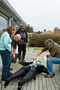 Cold water divers like to stay dry.  Finding a pinhole leak in a dry suit.