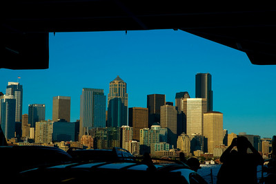 Seattle from the bowels of the ferry.
