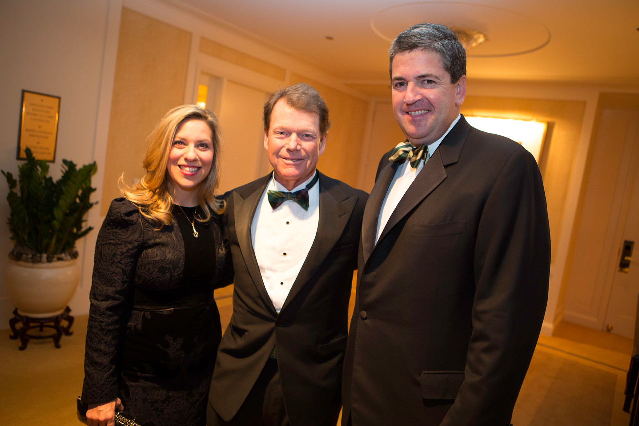 Dinner committee co-chairs Sharyl and Mike Mackey of Chicago pictured with golf legend Tom Watson, keynote speaker at the Western Golf Association's Green Coat Gala benefiting the Evans Scholars Foundation at The Peninsula Chicago hotel on Friday, Nov. 9, 2012. © Charles Cherney Photography