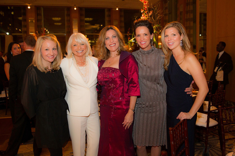 Katie Belot, Lynn Marinelli, Peggy Kusinski, Blue Kelly, and Alison Potts at the Western Golf Association's Green Coat Gala benefiting the Evans Scholars at The Peninsula Chicago hotel, including guest of honor Tom Watson on Friday, Nov. 9, 2012. © Charles Cherney Photography