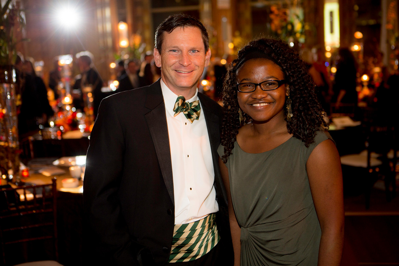 Current PGA Tour player Mark Wilson of Elmhurst and Marquette University Evans Scholar Maryclaret Ndubuisi-Obi at the Western Golf Association's Green Coat Gala, benefiting the Evans Scholars Foundation, at The Peninsula Chicago hotel, featuring guest-of-honor Tom Watson on Friday, Nov. 9, 2012. © Charles Cherney Photography