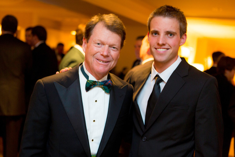 Golf legend Tom Watson (left) with 2012 Western Amateur golf champion Chris Williams at the Western Golf Association's Green Coat Gala benefiting the Evans Scholars at The Peninsula Chicago hotel on Friday, Nov. 9, 2012. © Charles Cherney Photography