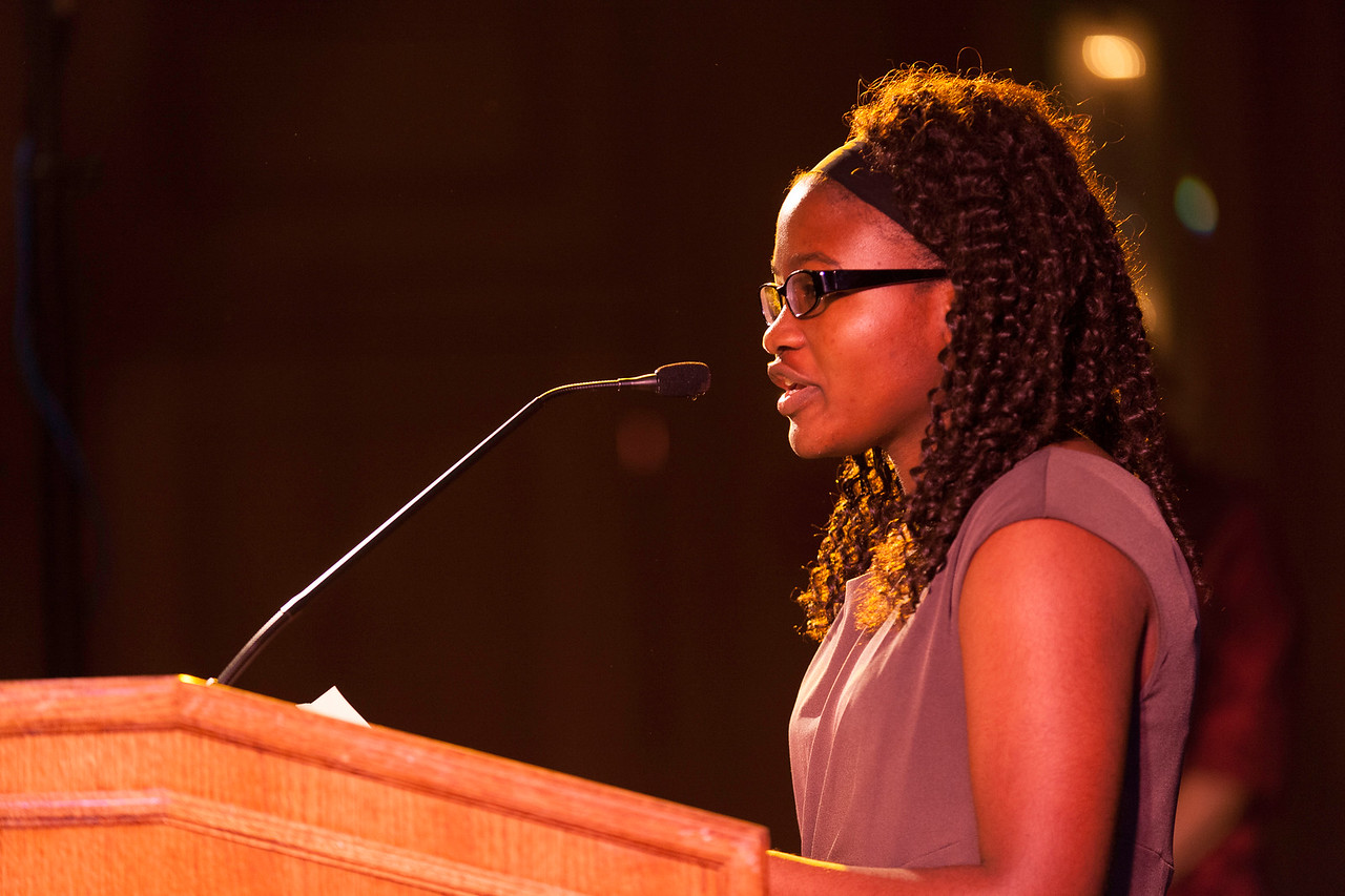 Marquette University Evans Scholar Maryclaret Ndubuisi-Obi, a caddie at Oak Park Country Club, speaks at the Western Golf Association's Green Coat Gala benefiting the Evans Scholars at The Peninsula Chicago hotel, featuring guest-of-honor Tom Watson on Friday, Nov. 9, 2012. © Charles Cherney Photography