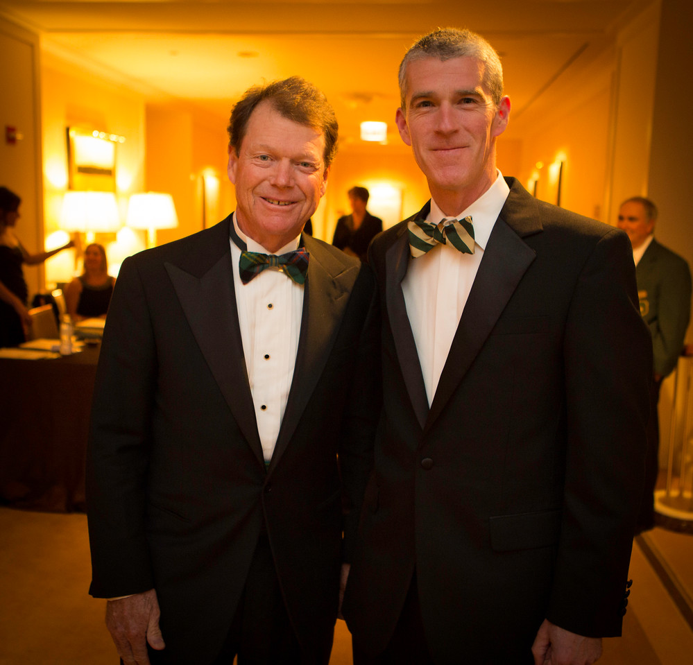 Golf legend Tom Watson with Mick O'Rourke (right) of Chicago at the Western Golf Association's Green Coat Gala benefiting the Evans Scholars at The Peninsula Chicago hotel on Friday, Nov. 9, 2012. © Charles Cherney Photography