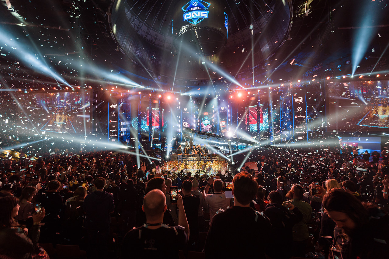The crowd cheers for the winners Virtus Pro!