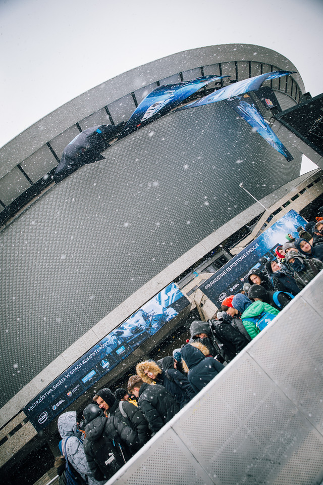 The queue in front of the Spodek Arena