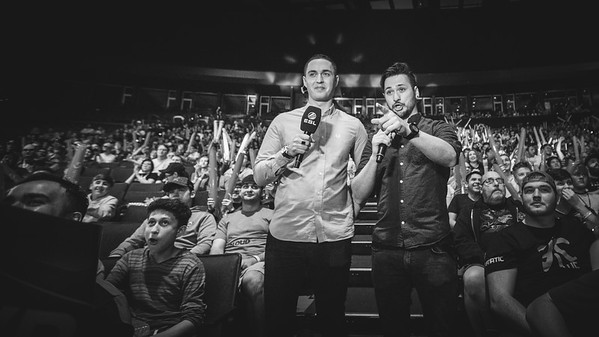 """The Casters Matthew """"Sadokist"""" Trivett and his co-caster Henry """"HenryG"""" Greer in the crowd"""