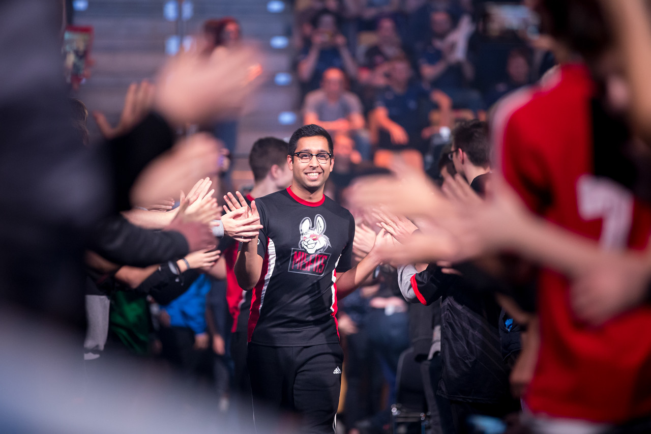 ShahZam of Team Misfits gets greeted by the fans as he walks to the stage