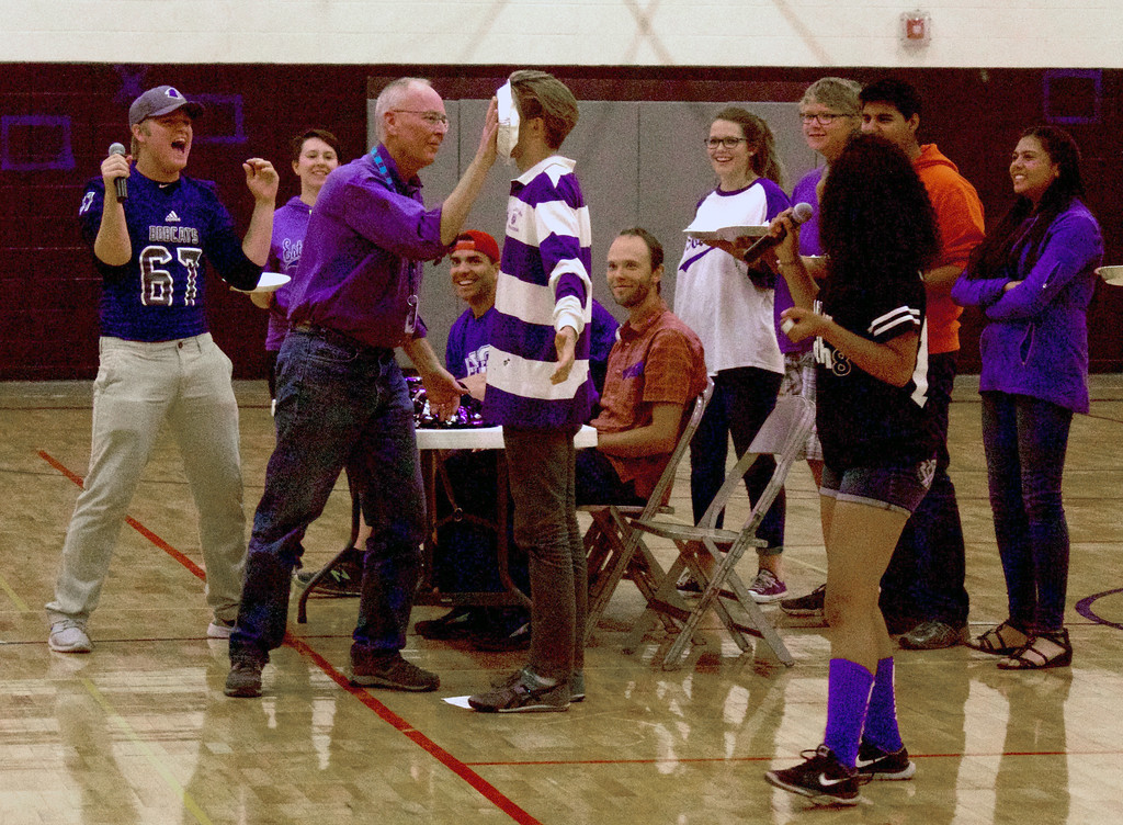 . A pie in the face gets everyone cheering during the Pep Rally on Friday.  Photos by Nic Wackerly