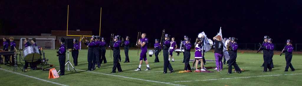 . Defending state champion Estes Park High School Band performs for the crowd at halftime.  Photos by Nic Wackerly