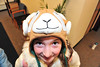 Megan Frey, 10, adds whimsy to fighting the weather on Monday. The persistant cold prompted Estes Park residents to break out their best headware.