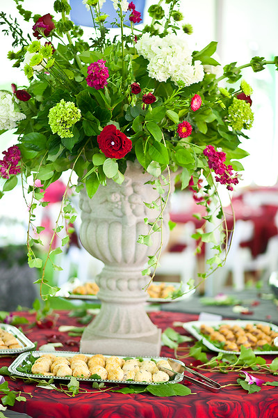 Floral Decor by David Williams of Magnolia Floral Service, Food by Julep's Catering