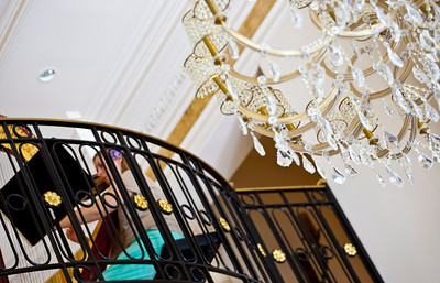 The enchanting harpist Jessica Hyden's beautiful music greeted guest in the balcony of the grand foyer upon entry.