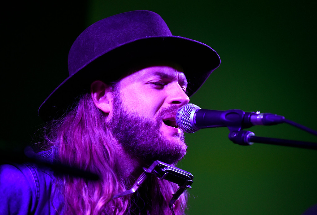 . Hunter Stone performs a song for the audience during a Boulder In-the-Round Songwriter Showcase on Wednesday at the eTown Hall in Boulder. Jeremy Papasso/ Staff Photographer 06/08/2018