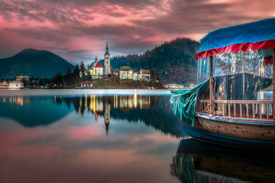Sunset on Lake Bled and Pletna boat