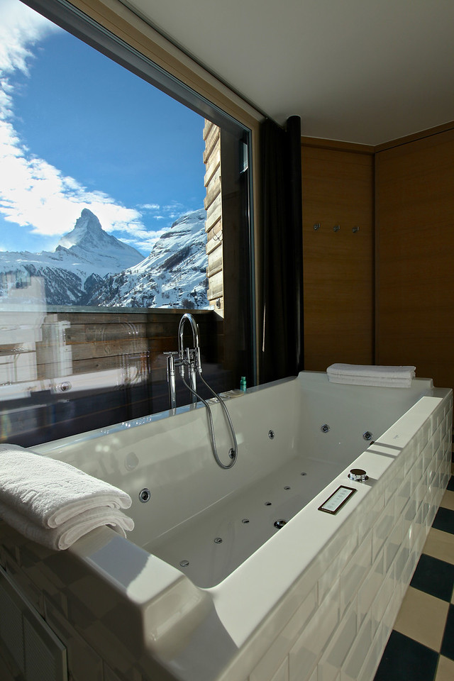 You can sit in your multi-jetted soaker tub and soak in the Matterhorn views all day long.