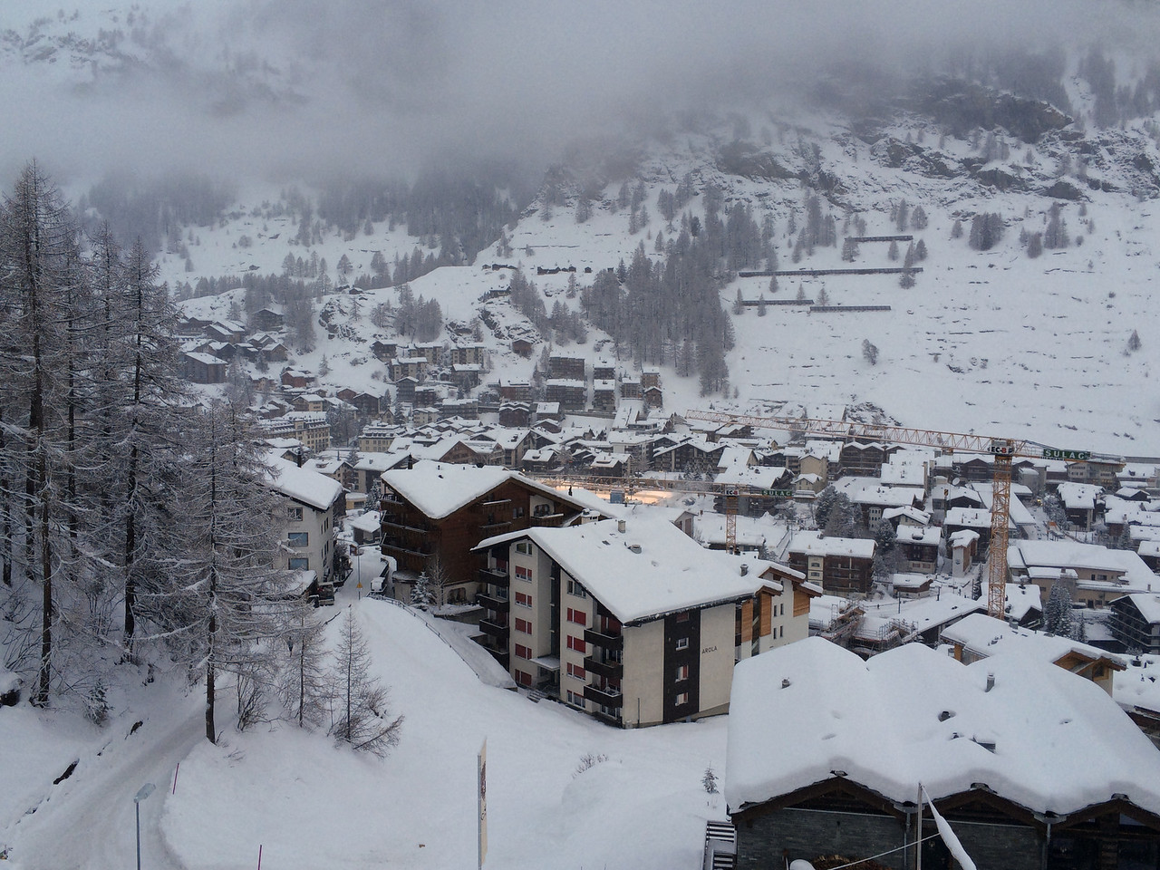 You can also see down into the village of Zermatt.