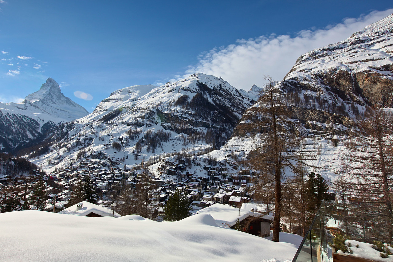 And since it faces west, it has the same phenomenal views of the Matterhorn as well as the town of Zermatt below.