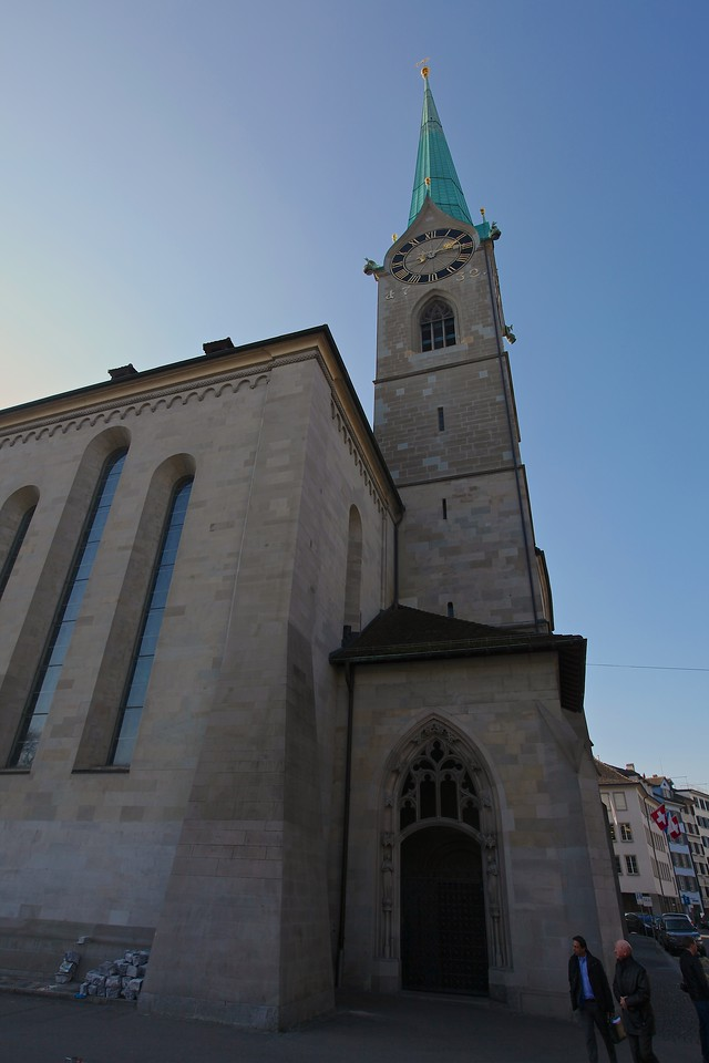 The Fraumünster Church (in English: Women's Minster) is built on the remains of a former abbey for aristocratical women which was founded in 853. Today, it belongs to the Swiss Reformed Church and is one of the three main churches of Zürich,