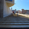 The Guggenheim Museum Bilbao is a museum of modern and contemporary art designed by Canadian-American architect Frank Gehry.  This long staircase leads to the front of the museum from the riverfront.