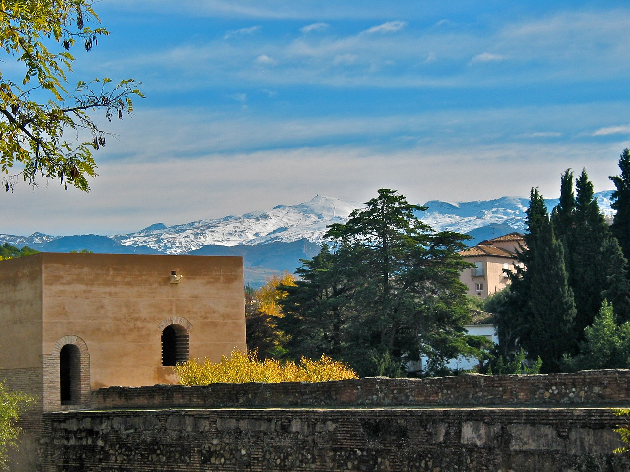 A great view of the Sierra Nevada from the Alhambra.