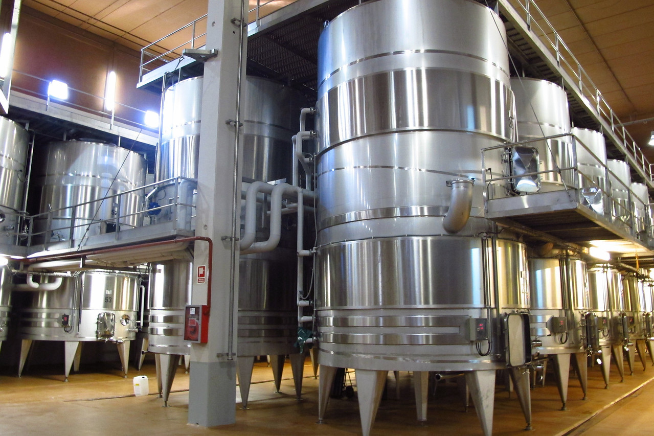 Wine fermentation tanks.
