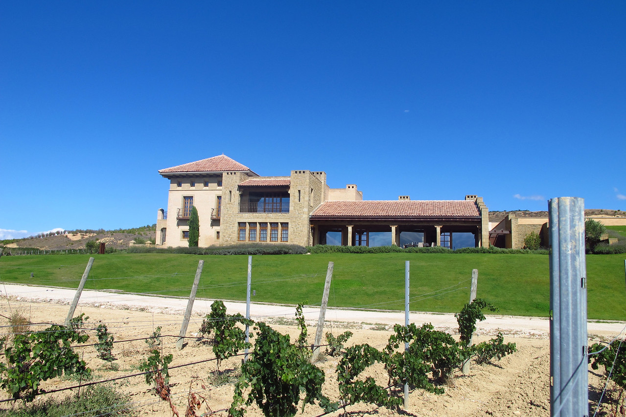 The side of the winery as viewed from inside the vineyards.