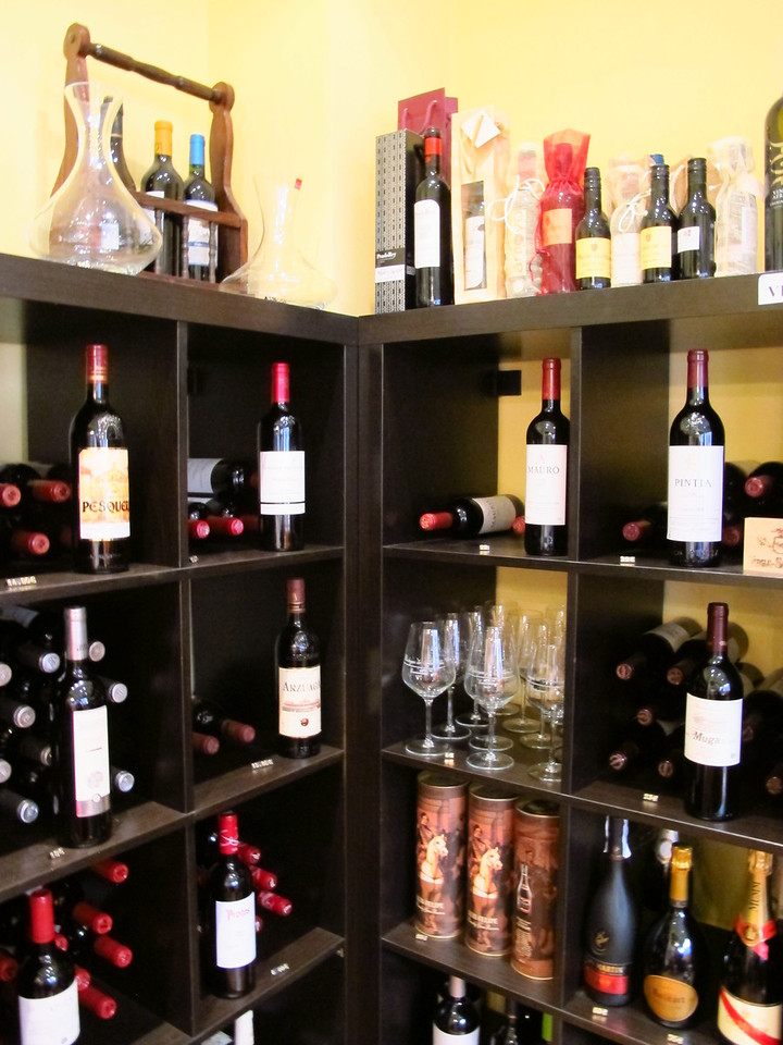 Just off the street is a small wine shop, with the wine cellars below.