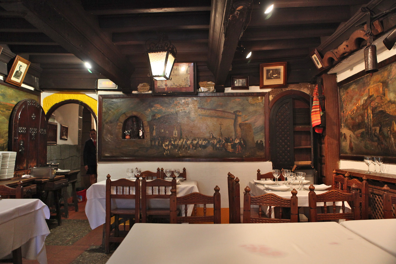 There are multiple dining rooms on multiple floors, many with murals that are hundreds of years old.
