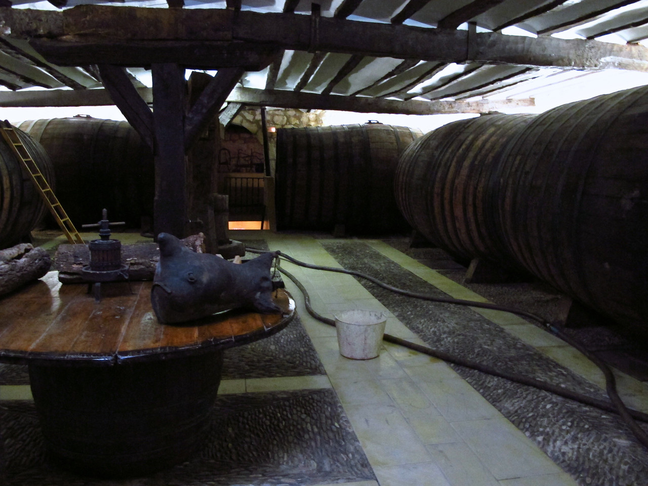 The main winery building dates back centuries.  Some of the old barrels still are used.