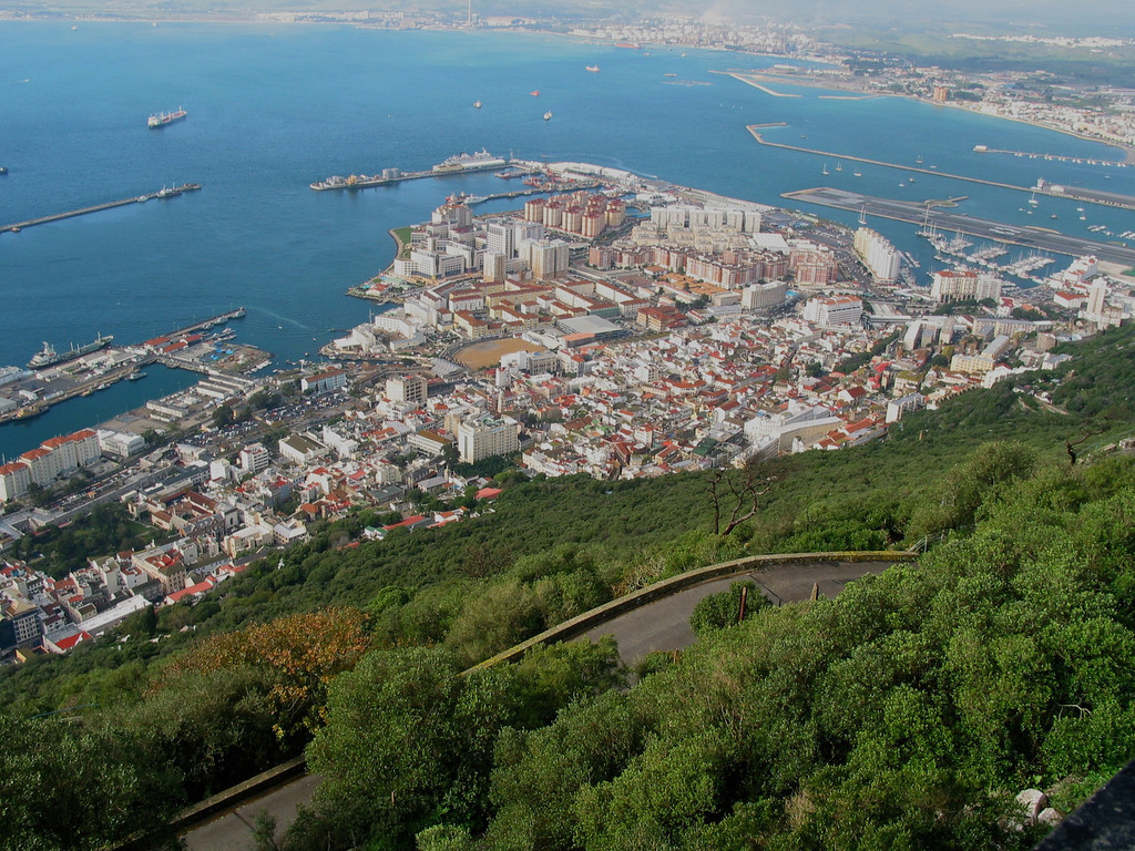 The major metropolitan area of Gibraltar as you look down from the rock.