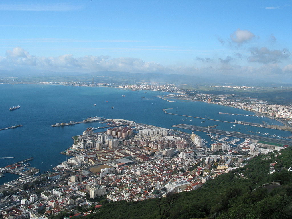 A view from the top of the rock looking back towards Algeciras, Spain and the Spanish countryside.