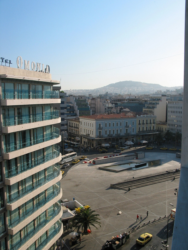 Omonia Square or Concord Square, is a central square in Athens. It marks the northern corner of the downtown area defined by the city plans of the 19th century, and is one of the city's principal traffic hubs.