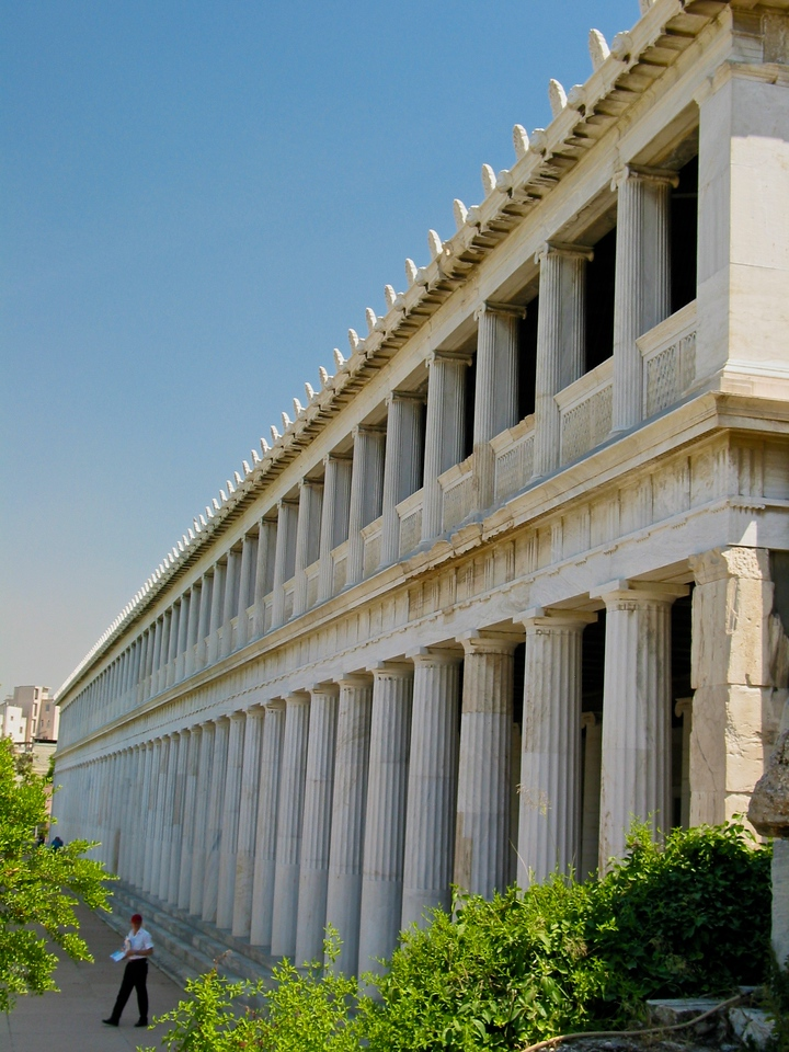 The Stoa of Attalos (also spelled Attalus) is recognised as one of the most impressive stoae in the Athenian Agora. It was built by and named after King Attalos II of Pergamon who ruled between 159 BC and 138 BC.<br /> Typical of the Hellenistic age, the stoa was more elaborate and larger than the earlier buildings of ancient Athens.