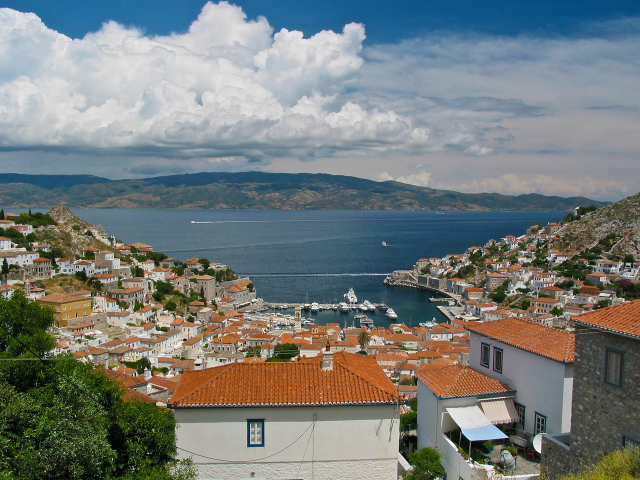 From the Convent, you can look down on Hydra town and the port.