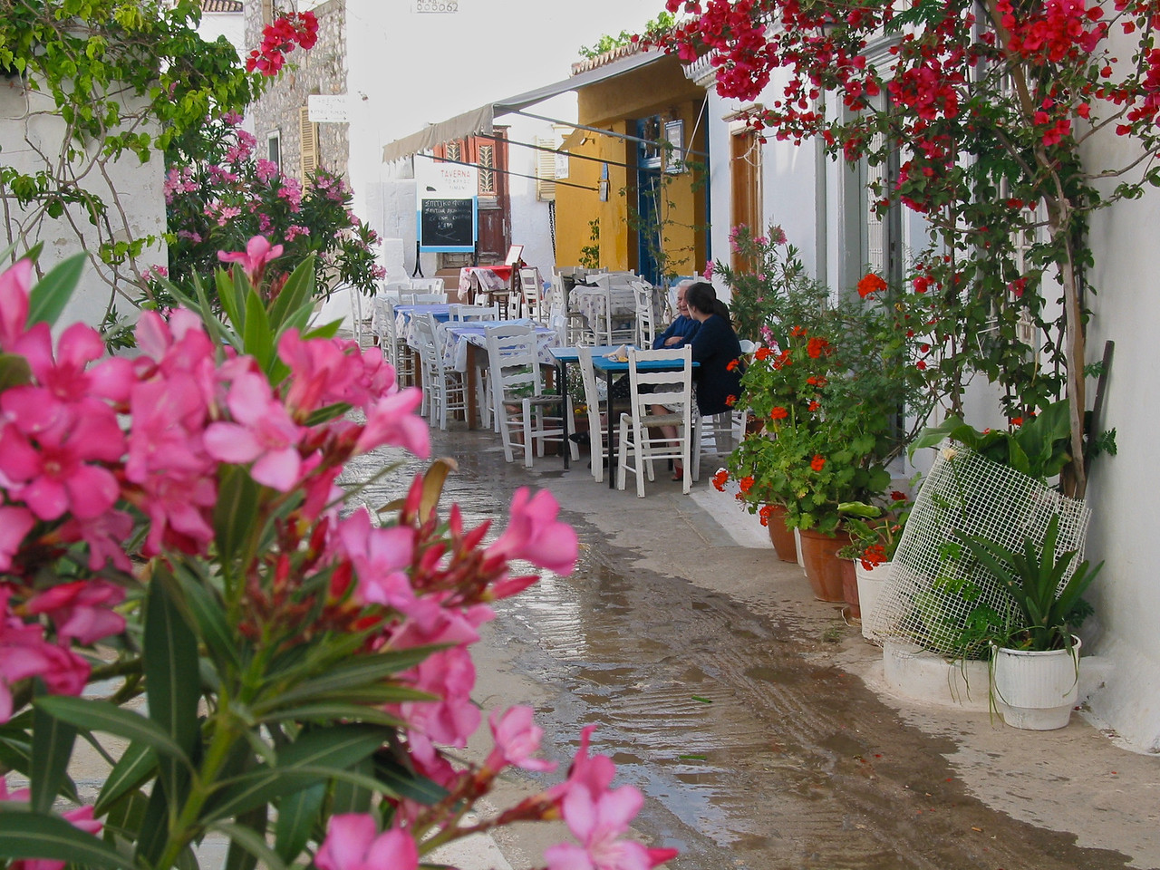 Cafes dot and line the narrow streets of Hydra town.