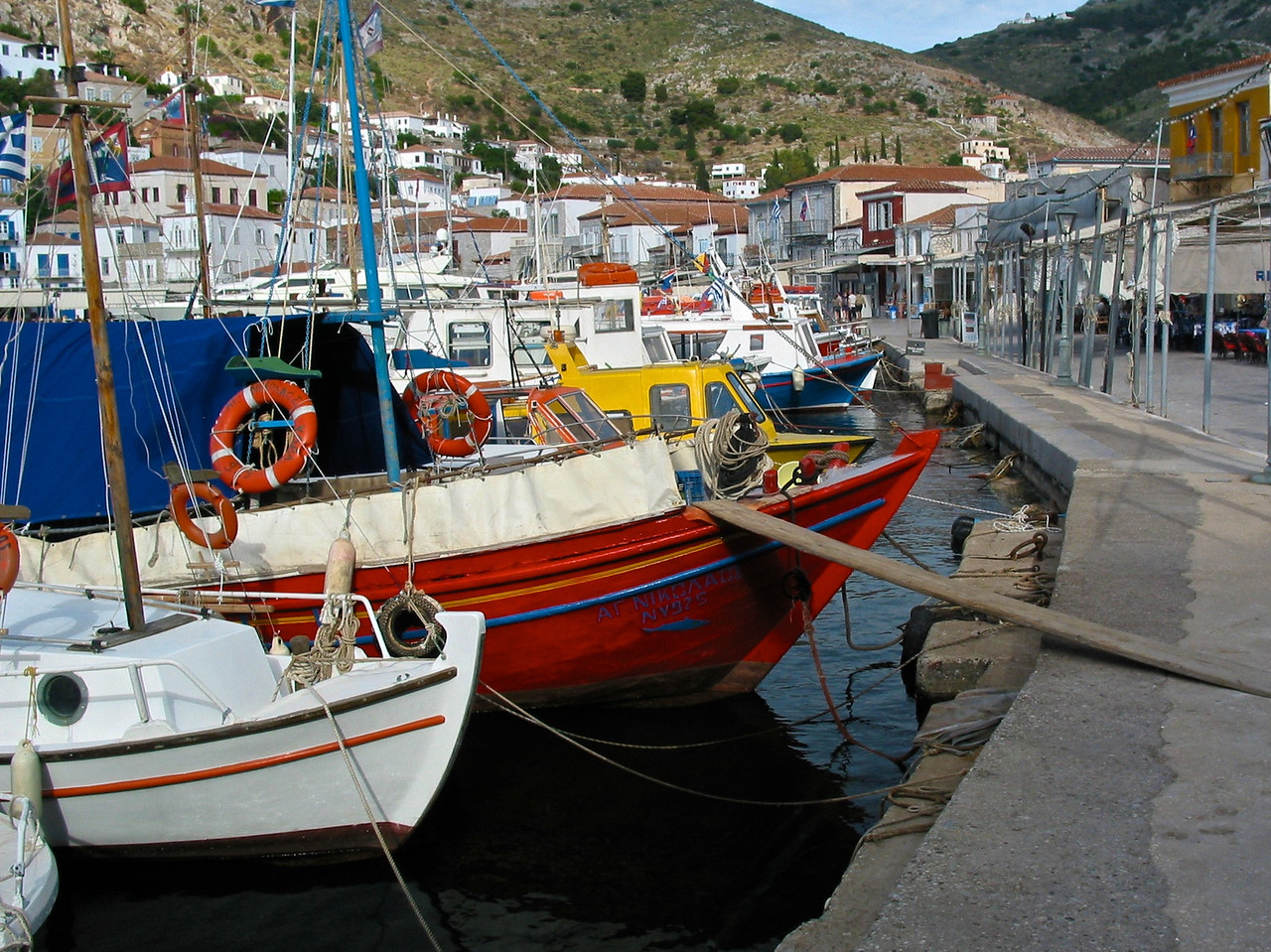 Although the island's name is derived from ancient springs known to the Ancient Greeks, it is now almost dry. Hydra previously had wells, and three new wells have been found. Today, the island imports its water by boat from the Greek mainland, but a new desalinization plant is now finished but not in operation. Many local people store winter rainfall in cisterns beneath their houses, to be used later as drinking water.