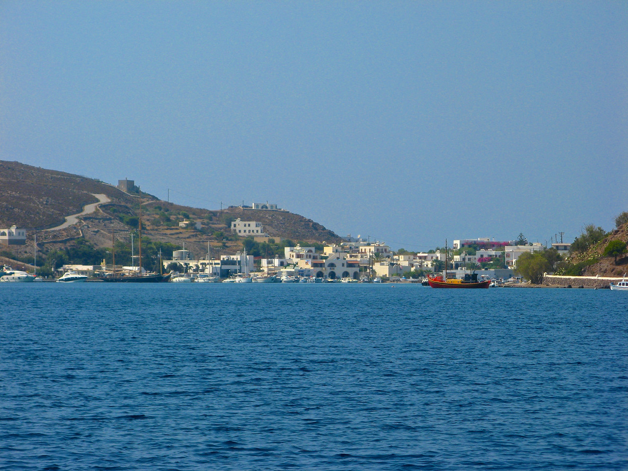 Here are some pictures as we pull into Skala on Patmos.