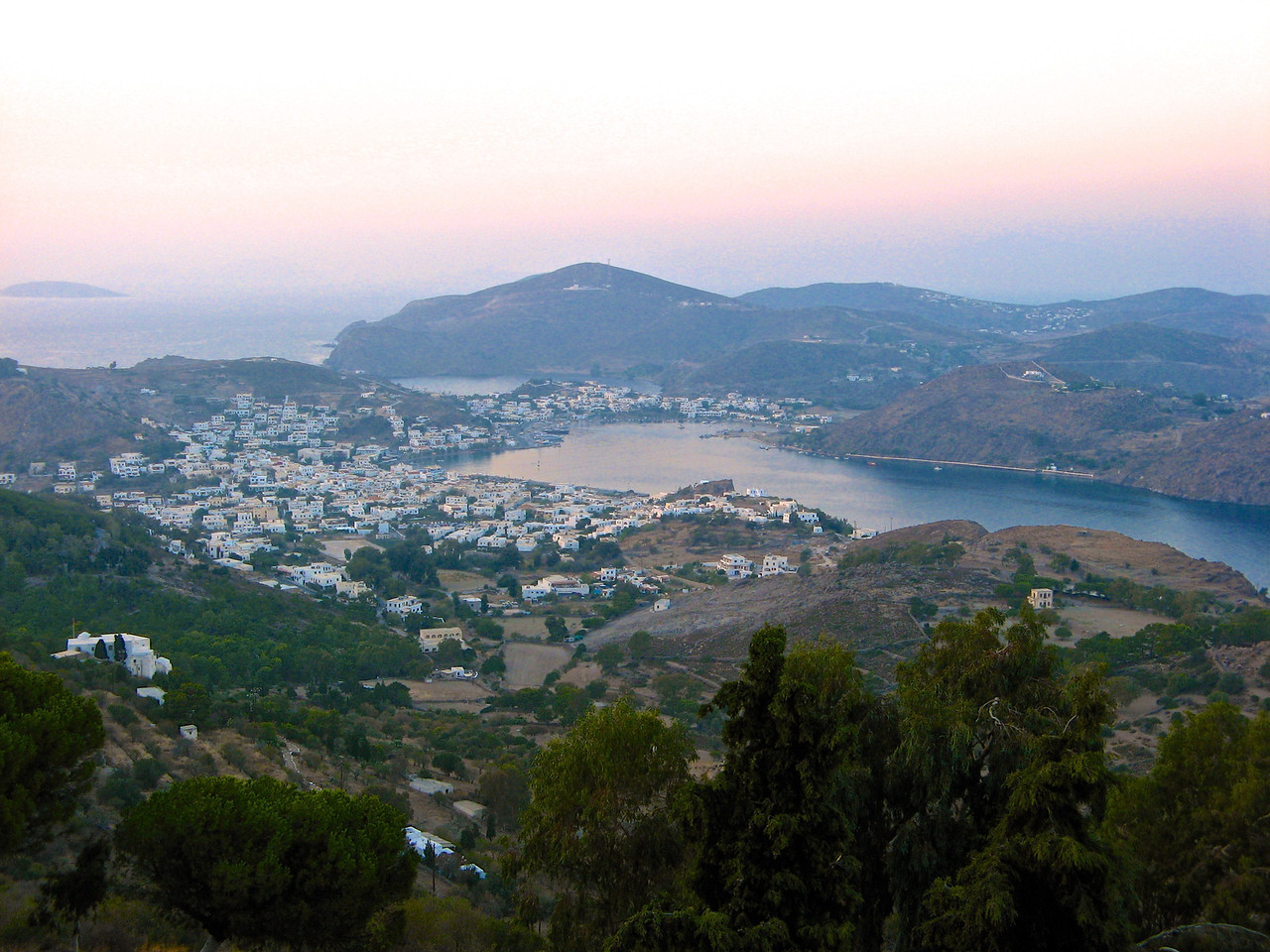 A view of Skala from Chora on the hill.