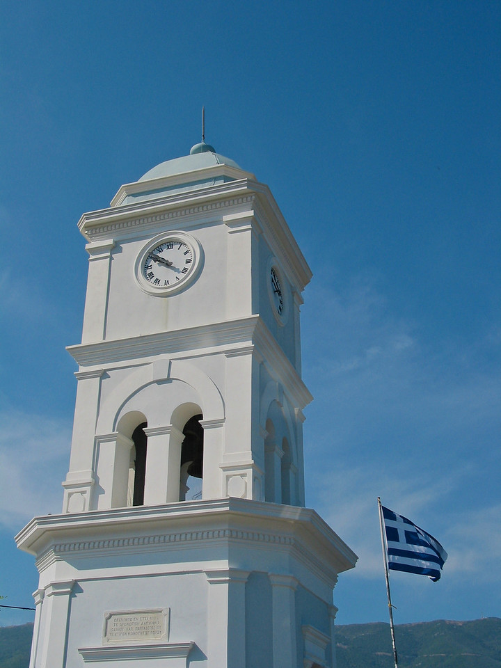 The clock tower on Spaetses.