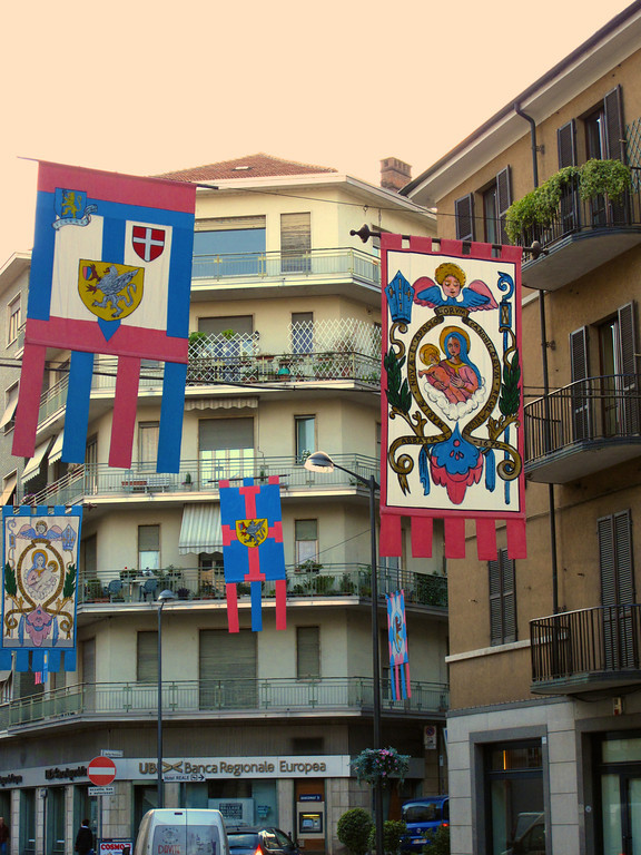 Flags decorate the city streets of Asti.