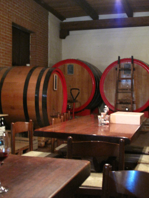 Many of Brezza's wines are aged in large casks as well as barrels.