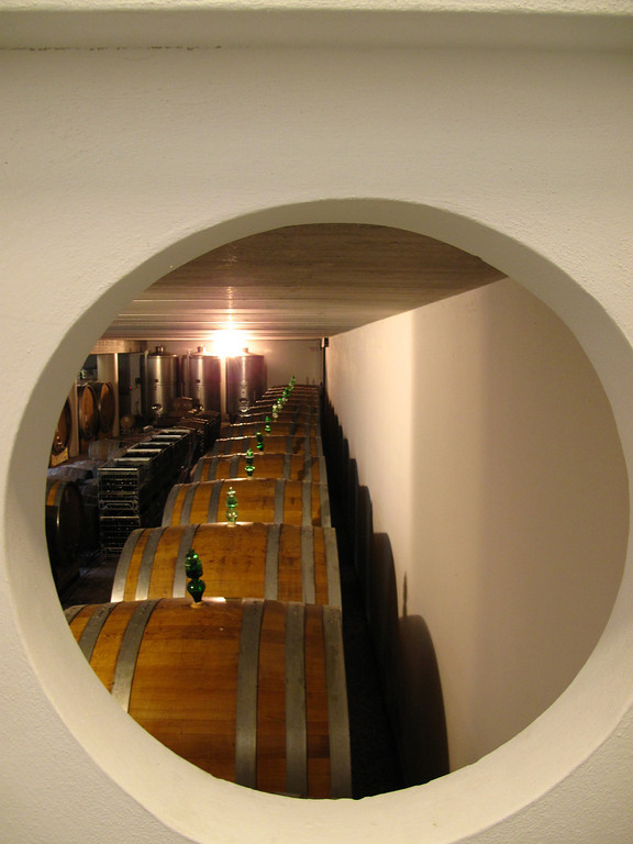 A view of the aging barrels at Vajra.