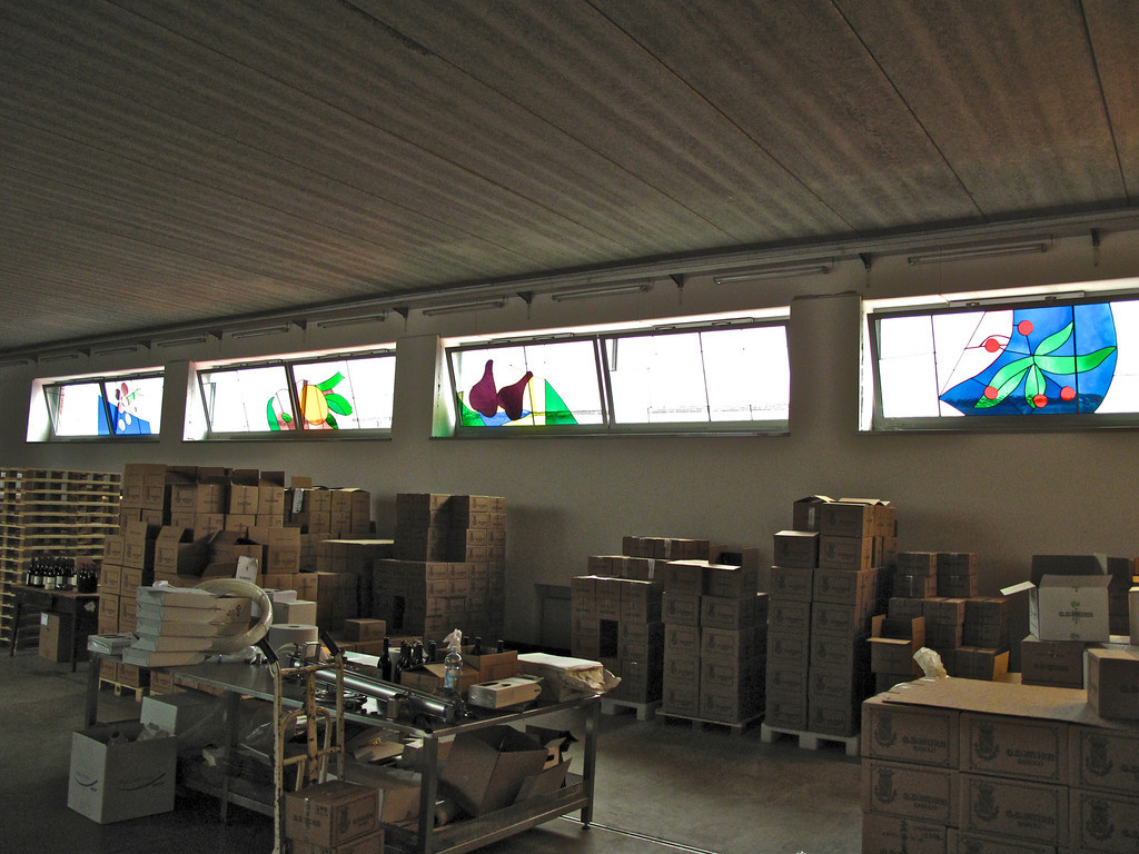 The Vajra winery is noted for its use of stained glass throughout the winery.