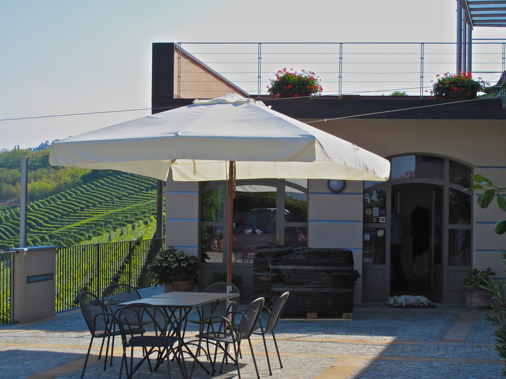 The winery has a beautiful patio overlooking the vineyards of Barbaresco.