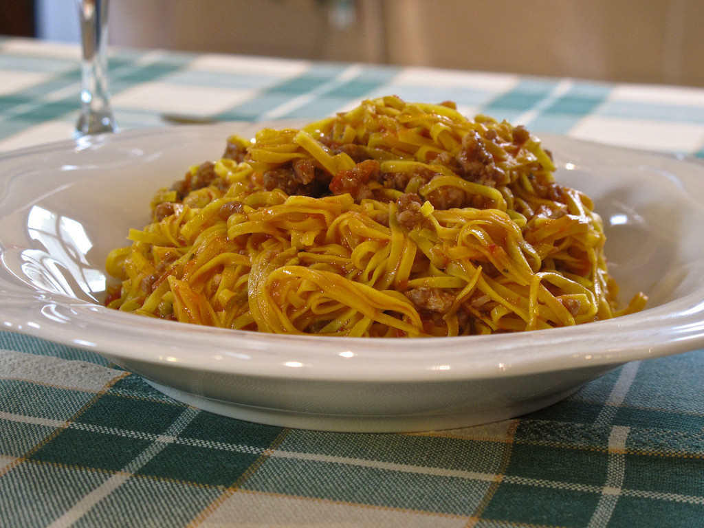 This is Tajarin served with a  beef ragu.  Tajarin is traditional to the Piemonte area and is similar to Tagliatelle pasta.