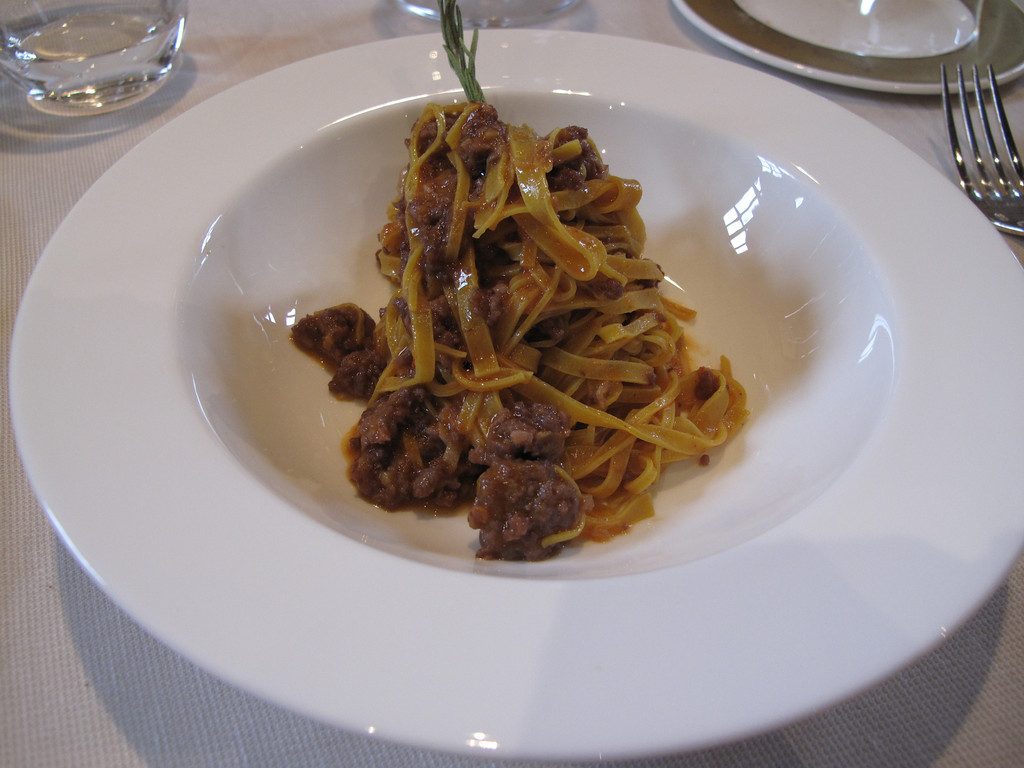 """Next is what they call """"Tajarin"""", which is Tagliatelli pasta.  Here it's served with a meat sauce.  Very very good."""