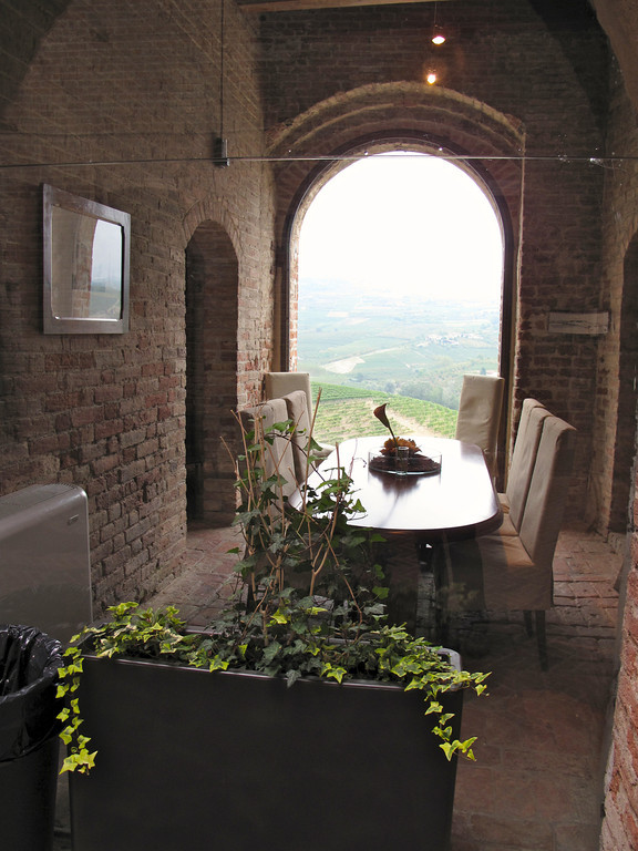 Here's a special dining room that overlooks the valley.