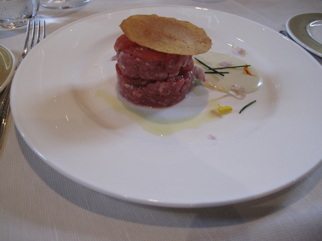 First course is a sausage tartare  (raw), which was actually very very good.